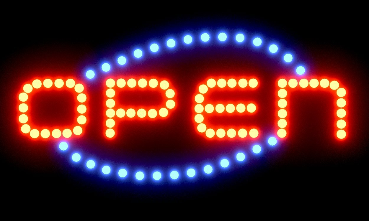 SPRINGROSE Large Neon LED Open Sign with Animation Motion and Constant On Functions   Perfect for Shops, Salons, Bars, Pubs, Cafes, Gas Stations, Motels, and Offices!!!