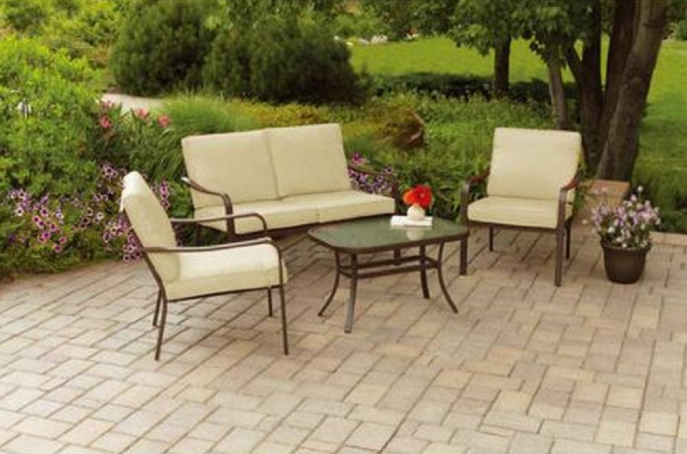 Amazon.com : Mainstays Stanton Cushioned 4 Piece Patio Conversation Set,  Seats 4 : Garden U0026 Outdoor