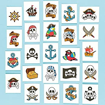Pirate tattoos pack of 24