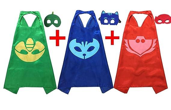 PJ Máscaras Disfraces para Niños Juego de 3 catboy owlette Gekko Máscara con Cabo (27