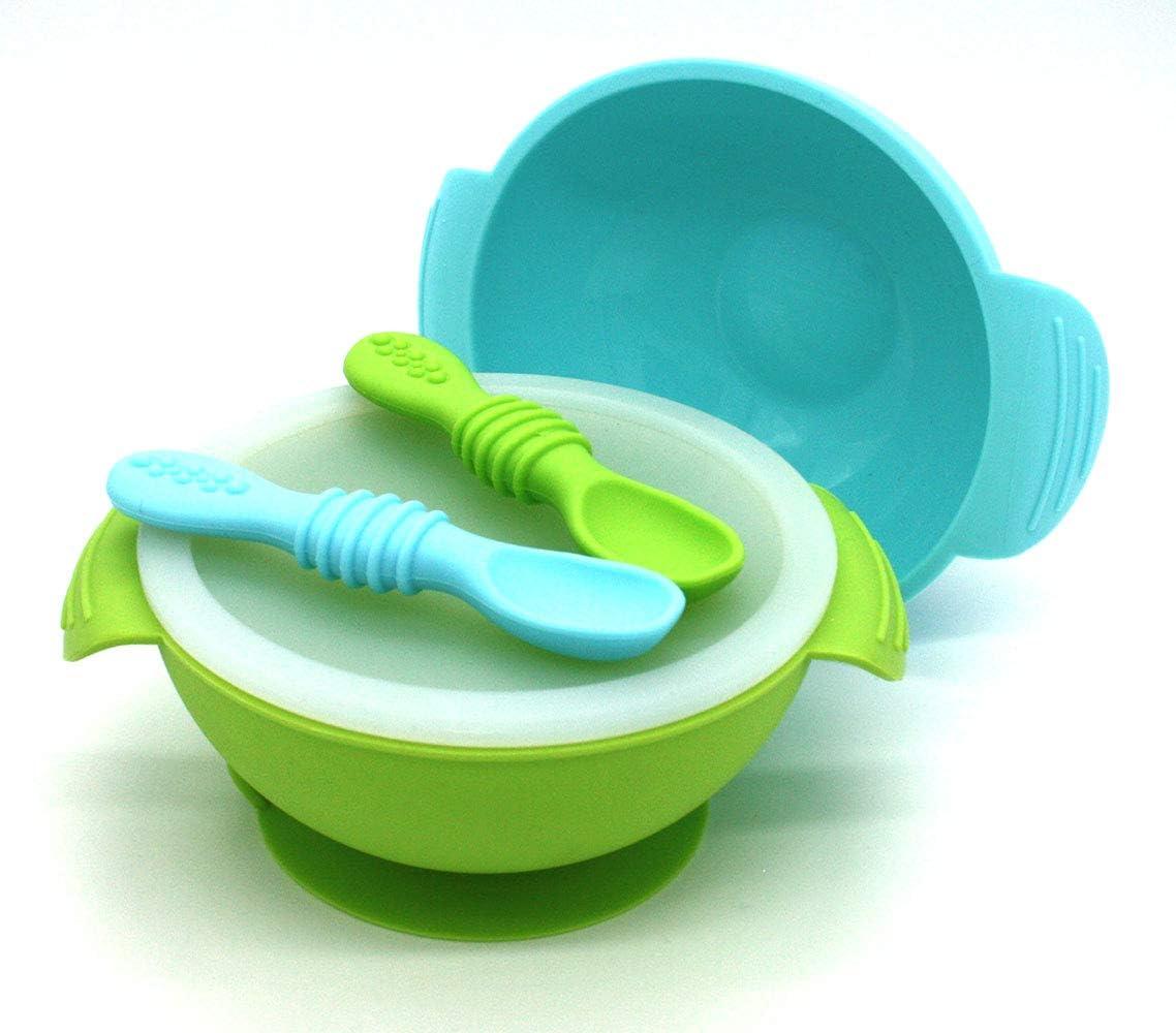 Silicona sin BPA Rosa y Verde Tapa Conjunto bol con ventosa para beb/é 2 Cucharas certificado FDA grado alimentario BUABI set 5 Piezas Silicona: 2 Bowls