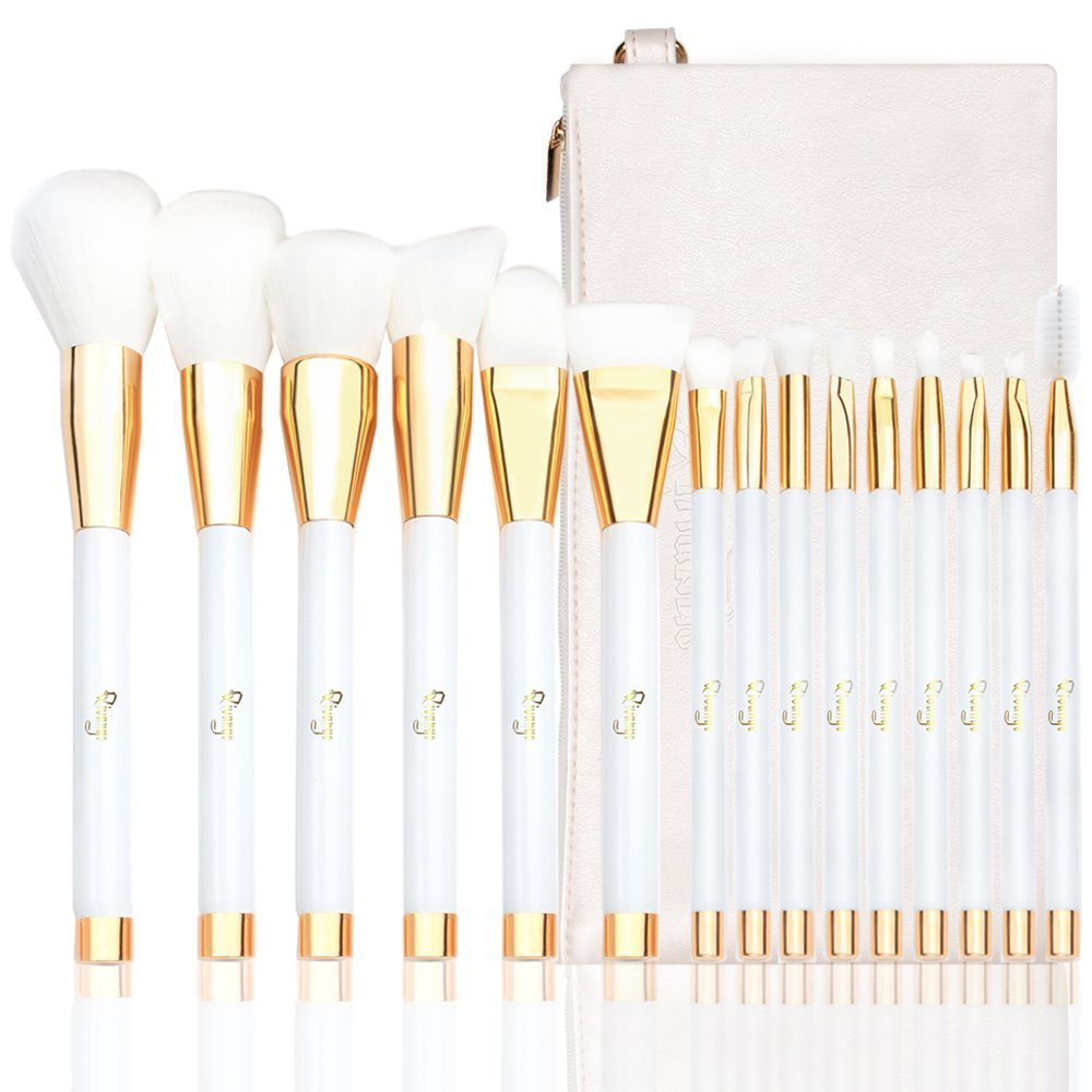 Qivange Makeup Brush Kit, Synthetic Liquid Foundation Contour Eyeshadow Makeup Blending Brush with Cosmetic Bag(15pcs, White With Gold)