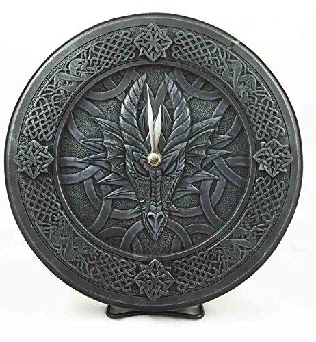 Gothic Dragon Gaze Round Wall Clock Resin Figurine
