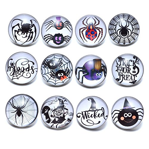 Halloween Snap Jewelry Charms 12 pcs Glass Snap Button Pumpkin Spider Bat Boo Skeleton Ghost Snap Buttons (KZ0698)