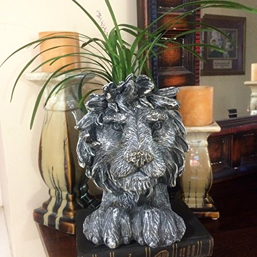 Homestyles 9 in. Graystone Lion Muggly Mascot Animal Statue Planter Holds a 3