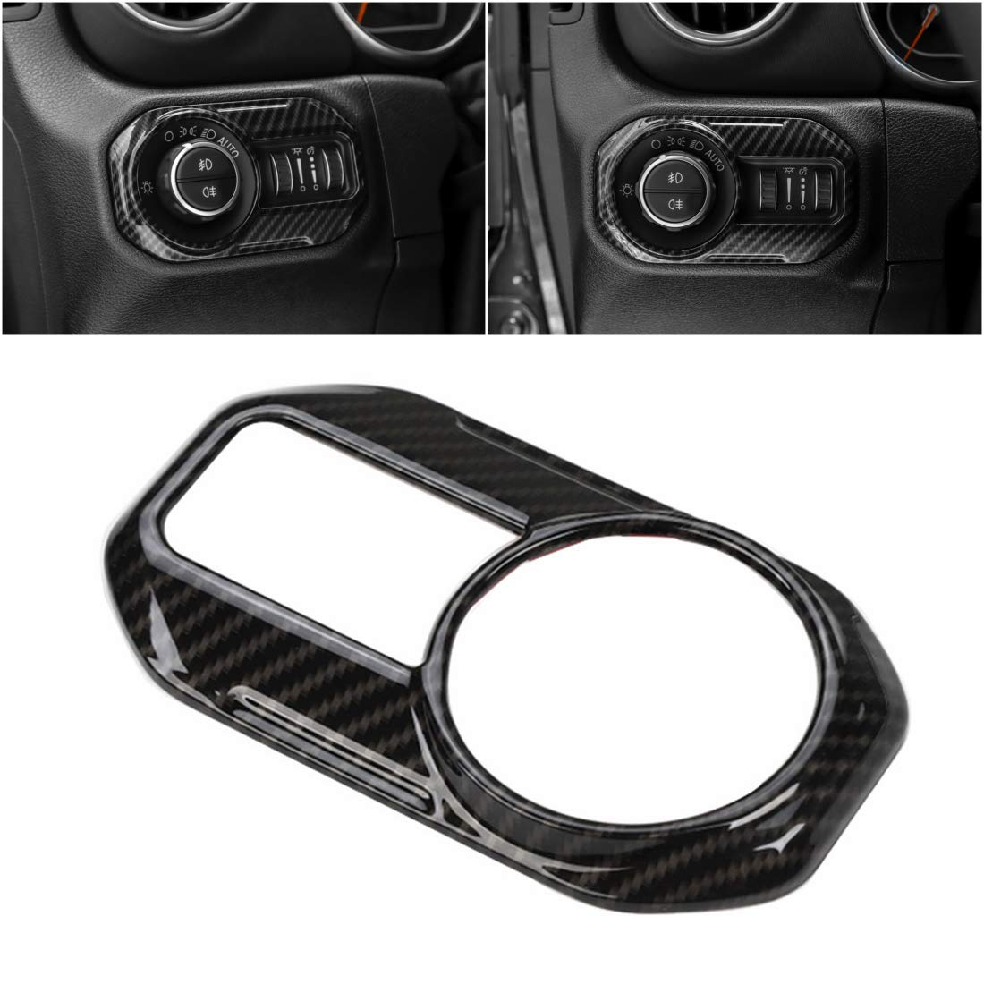 YOCTM for Jeep Wrangler JL 2018 2019 Parts Accessories Headlight Head Lamp Switch Button Decoration Trim Cover Stickers Car Styling Silver