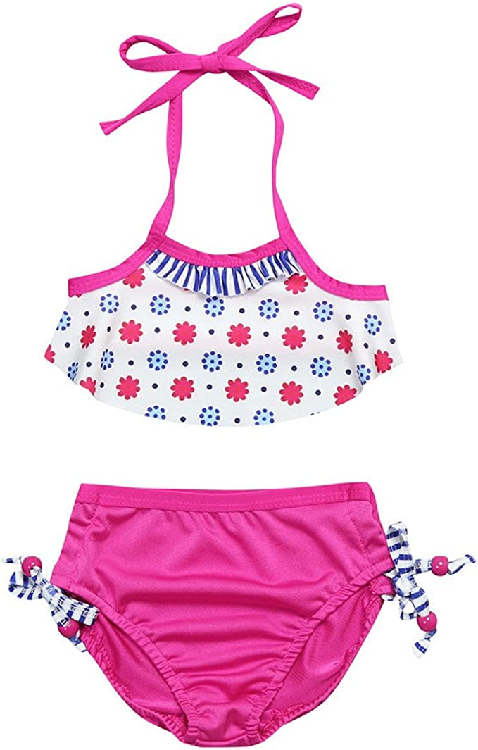 Fartido Baby Kid Girl Swimsuits Bathing Ruffle Printed Swimwear Bikini Dress Beach Clothes