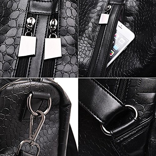 Leather Unisex Men For Shoulder Backpack Faux M014 pattern Fashion Women and Bag Classic Weave Blue Black rfqw1ft