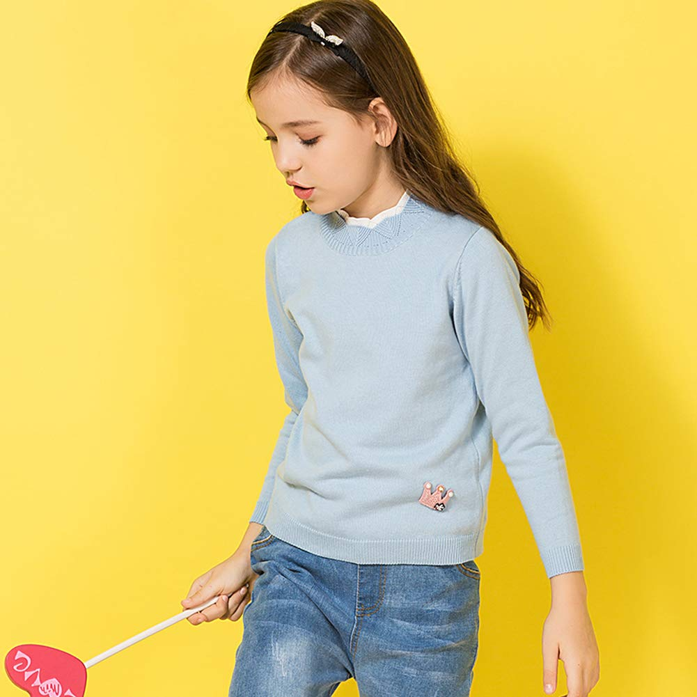 Minions Boutique Girls Pullover Sweater Contrast Color Stand Collar Cotton Knit Sweater with Crown for Girls 3-12Y