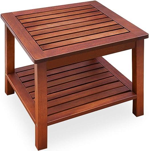 Deuba mesa auxiliar aceitada mesa de centro de madera de acacia mesita de jardín salón 45x45x45 cm mesa de café de patio: Amazon.es: Juguetes y juegos