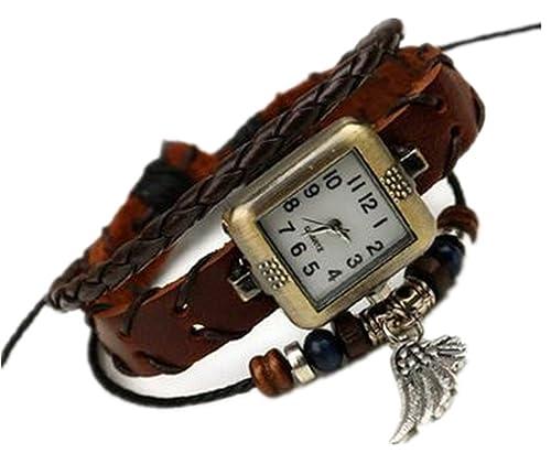 Shu li - Reloj de Pulsera de Cuero Retro, Diseño Moderno, para Hombre y