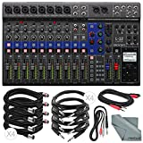Zoom LiveTrak L-12 Channel Digital Mixer and Multi-Track Recorder Basic Bundle w/ 10X Cables and Fibertique Cloth