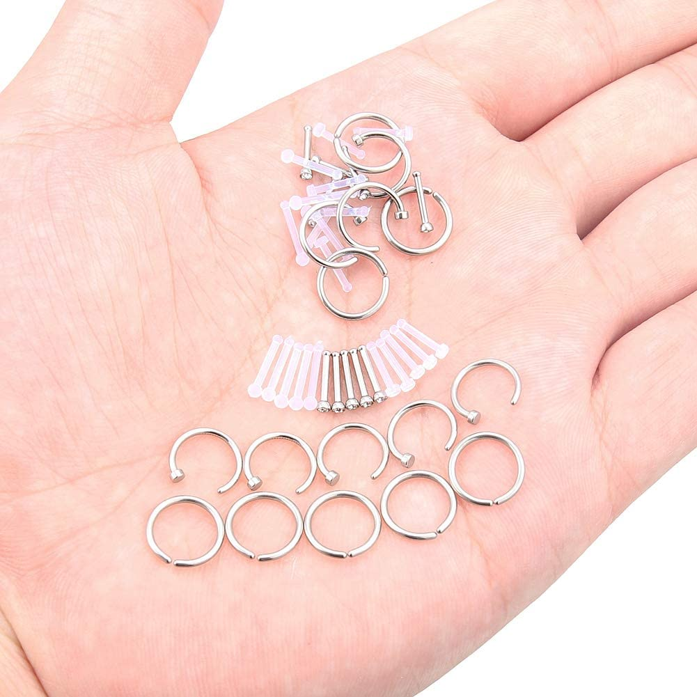 Kridzisw 46Pcs 18G Clear Nose Rings Studs and Non Piercing Nose Hoop Ring for Women Surgical Steel Nariz Nostril Bone Pin Body Piercing Jewelry Clear CZ 2MM 2.5MM 3MM