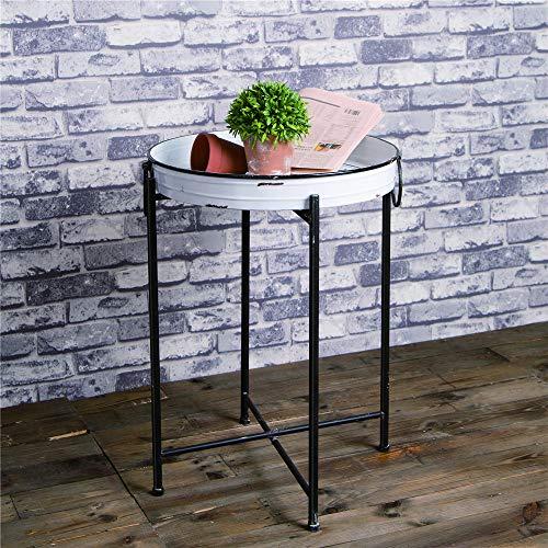 Glitzhome Foldable Rustic TV Tray Accent End Table Farmhouse Metal Enamel Decor Sofa Side Table, 24.41 H