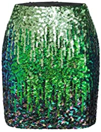 Women's Sequin Skirt Sparkle Stretchy Bodycon Mini Skirts Night Out Party