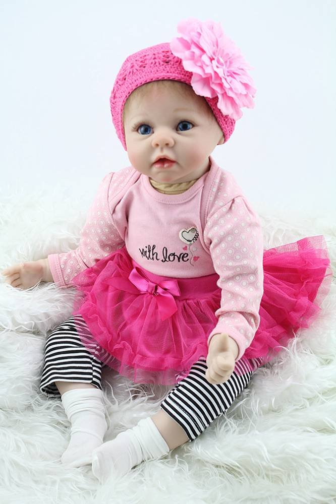 Reborn Baby Doll Girl Look Real Rose Red Tutu Skirt 22 Inches