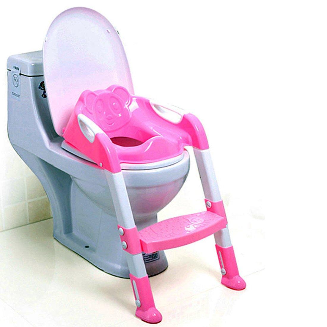 izasky Potty Training Seat Handles 2 Colors - Potty Toilet Seat Children's Potty Baby Toilet Seat with Adjustable Ladder Infant Toilet Training Folding Seat (Blue)