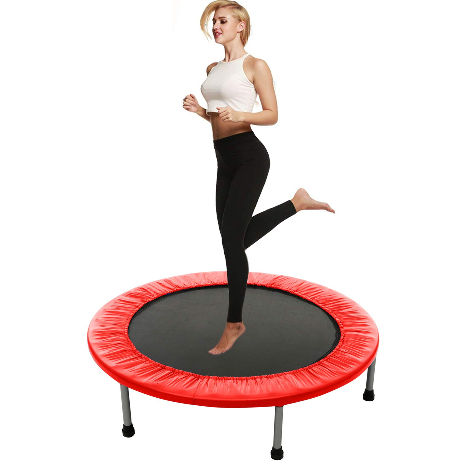 Balanu Mini Exercise Trampoline for Adults or Kids - Indoor Fitness Rebounder Trampoline with Safety Pad | Max. Load 200LBS (Red) by Balanu
