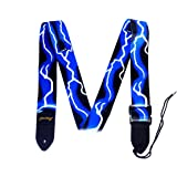 Adjustable Polyester Guitar Strap with PU Leather Ends Blue Lighting Print (Blue Lighting Guitar)