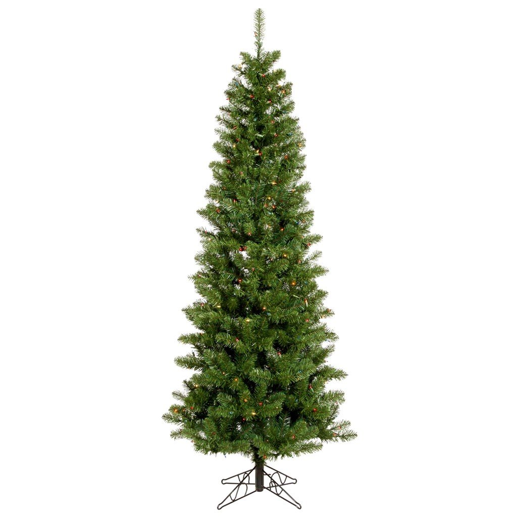 aa31fb780ace Amazon.com: Vickerman Pre-Lit Salem Pencil Pine Tree with 300 Multicolored  LED Lights, 7.5-Feet, Green: Home & Kitchen