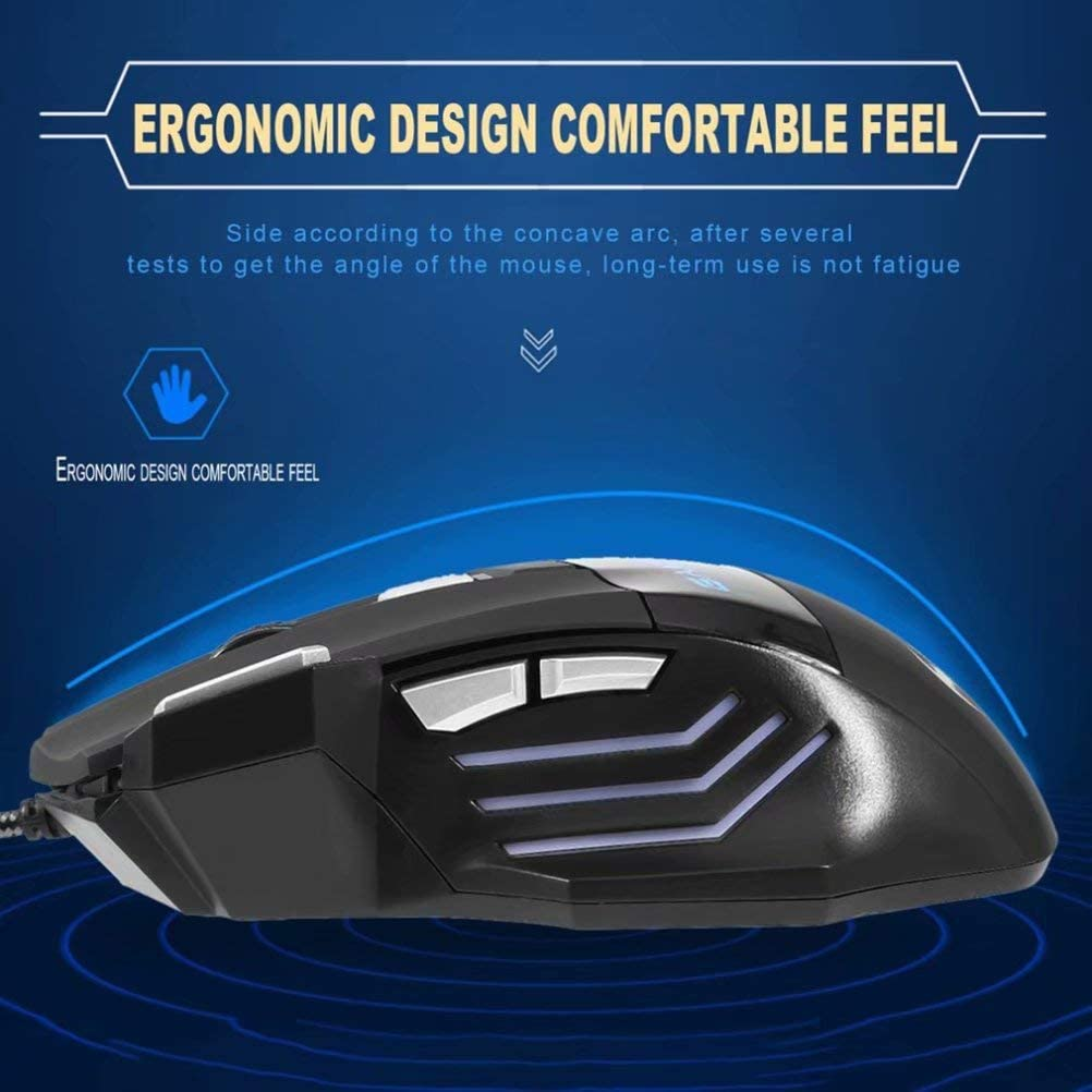 ZZRH Gaming Mouse LED Optical USB Wired Computer Mice 5500 DPI 7 Buttons for Pro Gamer