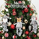Christmas Dolls Decorations by Yoland 3 Assorted Pieces Ornaments Animated Santa Snowman and Reindeer Plush Small Adorable Holiday Toys (Grey)