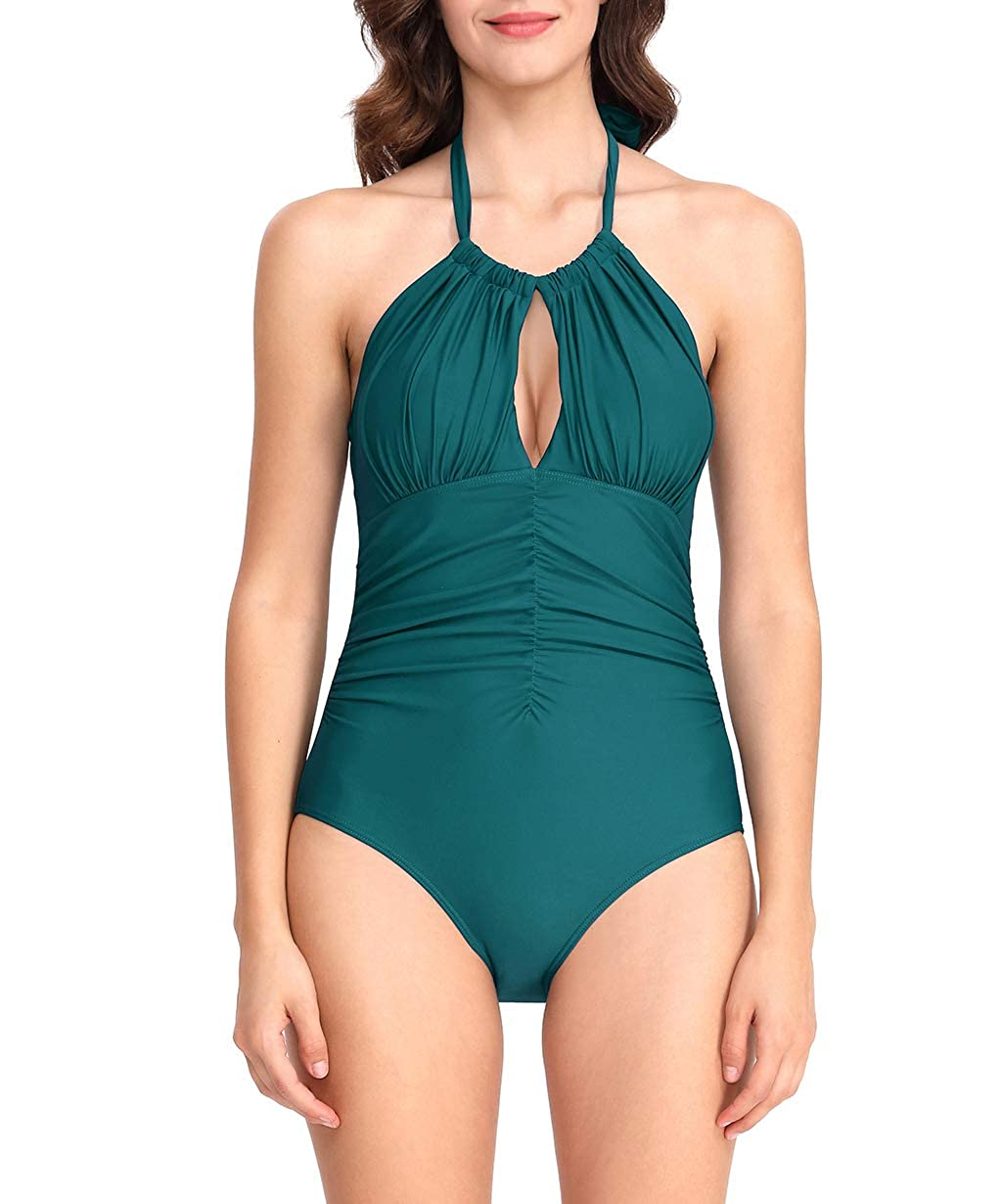 HSwim Womens Elegant Halter Frilled Keyhole High Leg One Piece Swimsuit