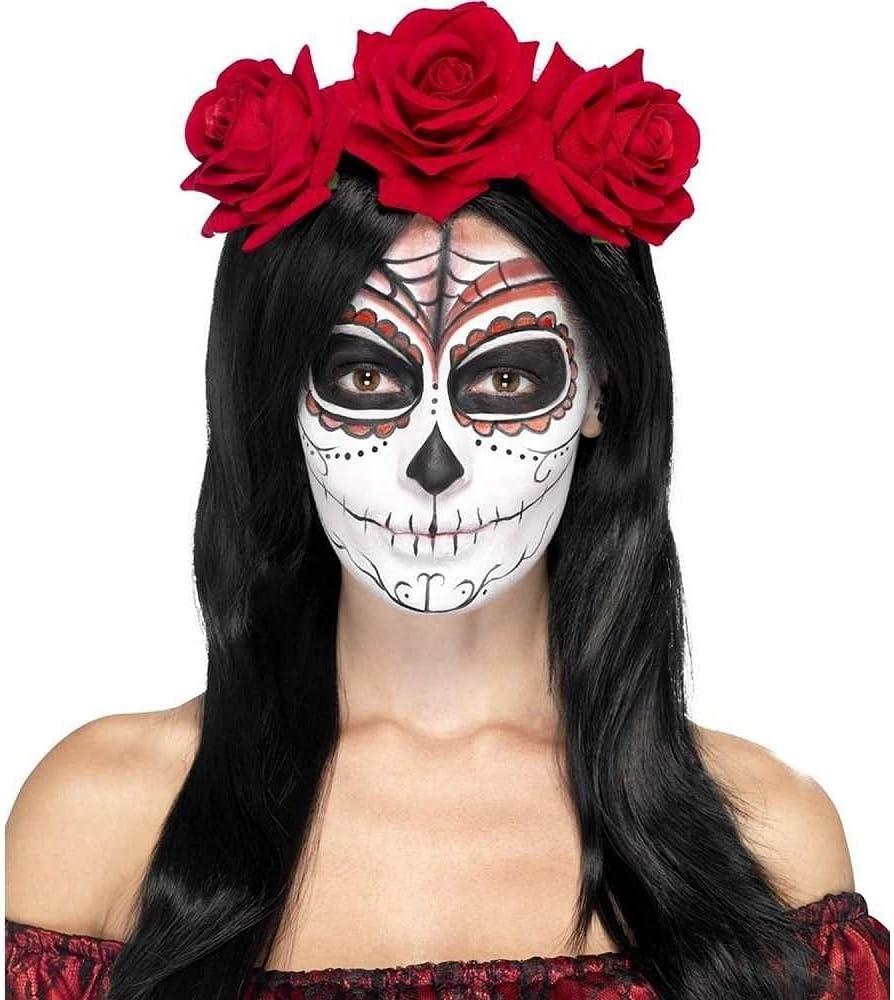 SmiffyS 27744 Diadema Del Día De Muertos Con Rosas Rojas, Rojo ...