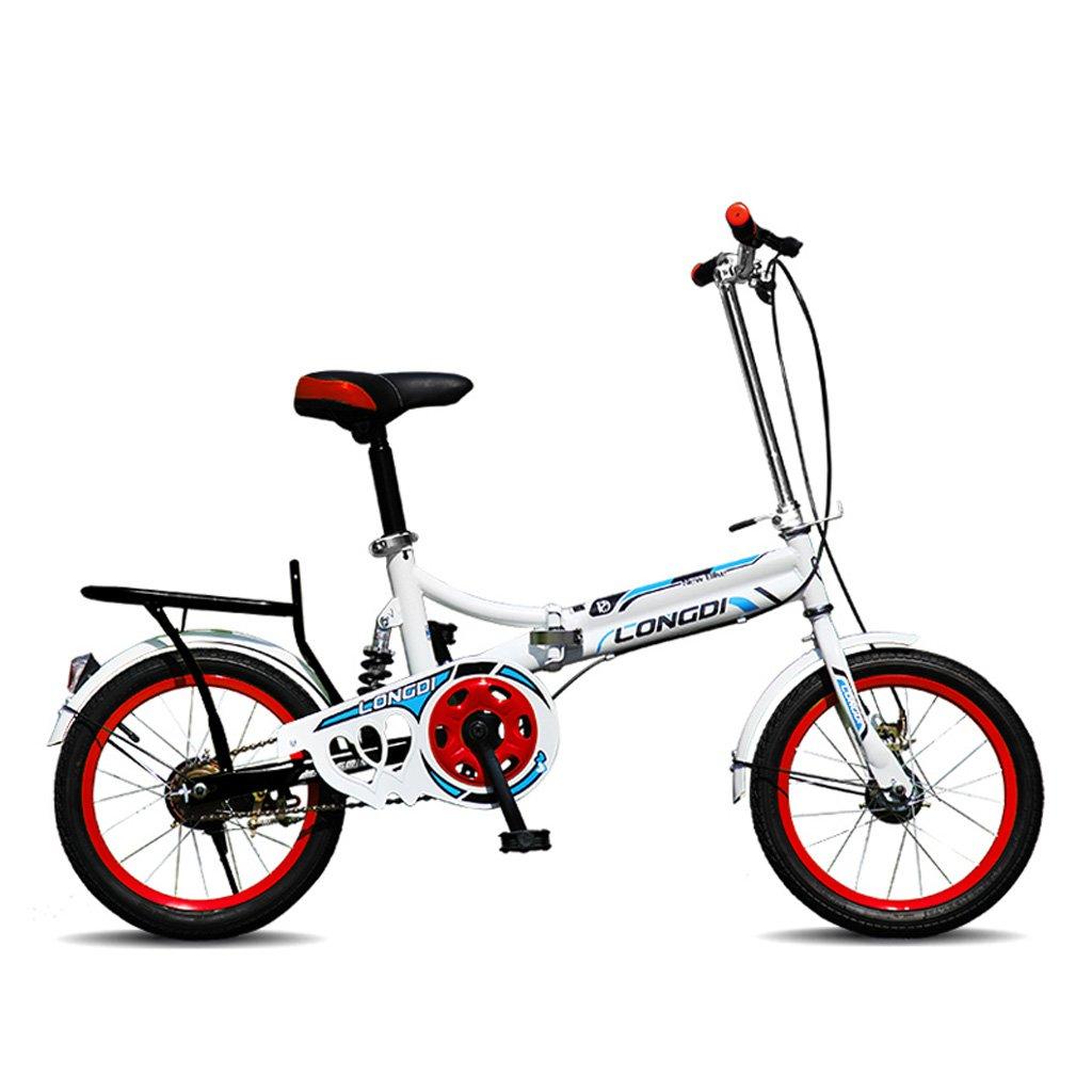 子供用自転車16インチ自転車高炭素スチール折りたたみ自転車4-7歳のベビーカー、白青/黒と白赤/ピンク/白緑 (Color : Black White Red) B07CZBJ5TZ