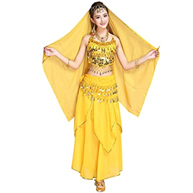 TianBin Mujer Danza del Vientre Trajes Indian Dance Conjunto Tops ...