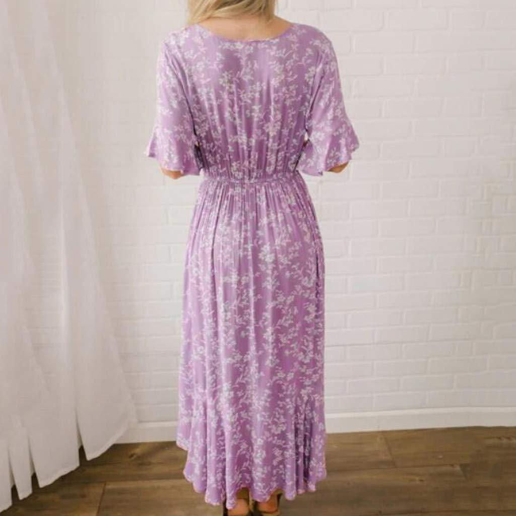 Women's Purple Flare Ruffle Short Sleeve High Split Irregular Hem V Neck Maxi Dress by ★ZFK_DRESS (Image #3)