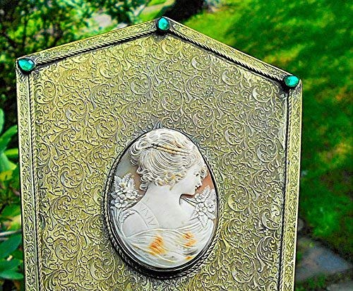 Victorian Large CAMEO Hand Mirror Brass Reticulate Leaves & Vines Hand Carved GORGEOUS Shell Beaded Headdress Cameo Flowered Background. One of a Kind!