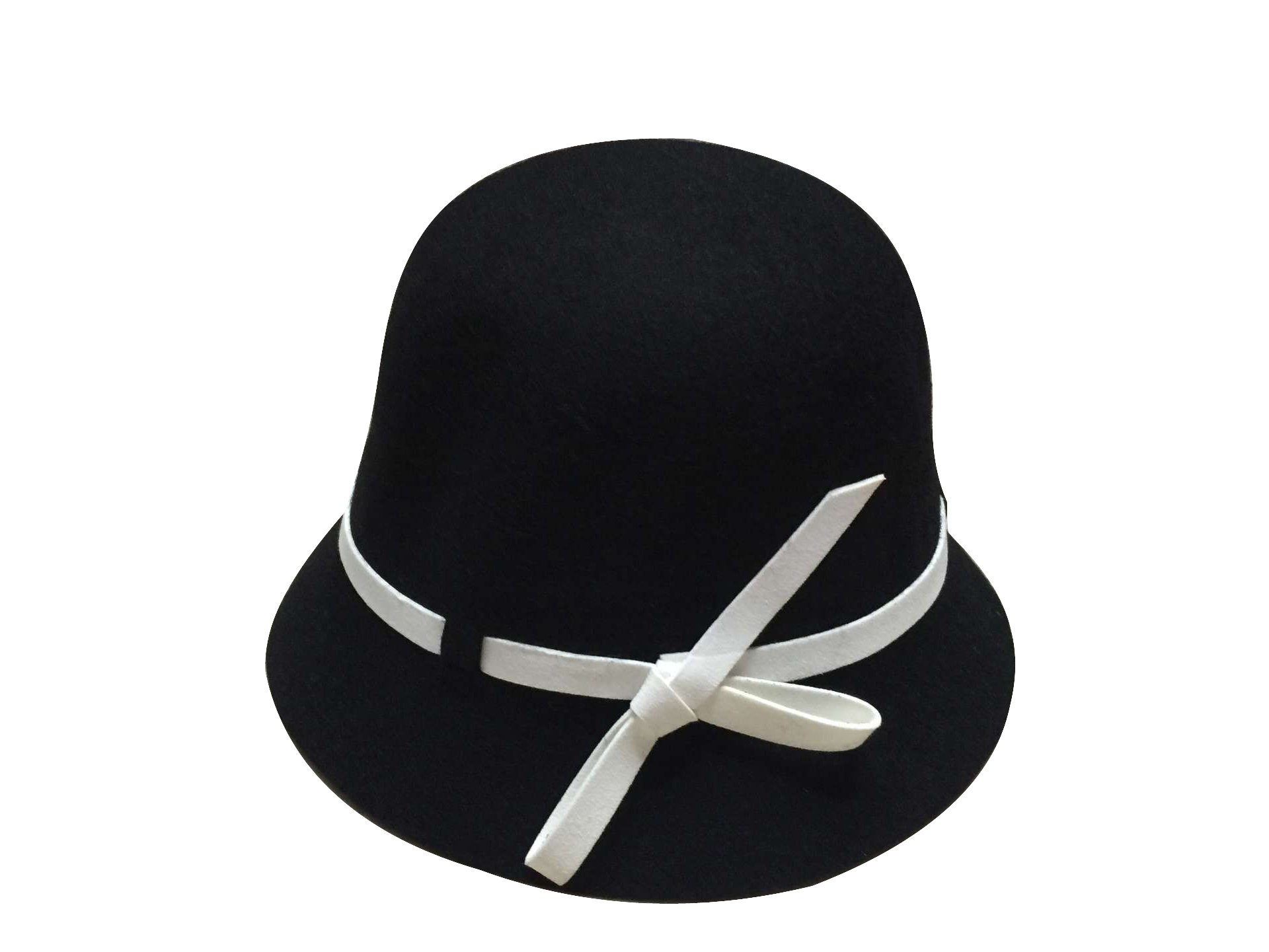 ACVIP Little Grils Solid Color Cap Cloche Bowler Bucket Dress Hat with Side Bow (Black)
