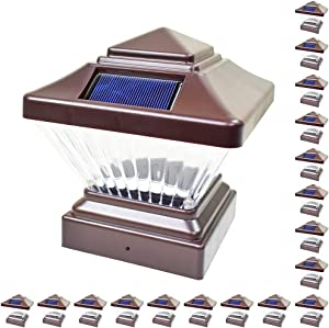 18 Pack Brown Outdoor Garden 4 x 4 Solar LED Post Deck Cap Square Fence Light Landscape Lamp Lawn PVC Vinyl Wood