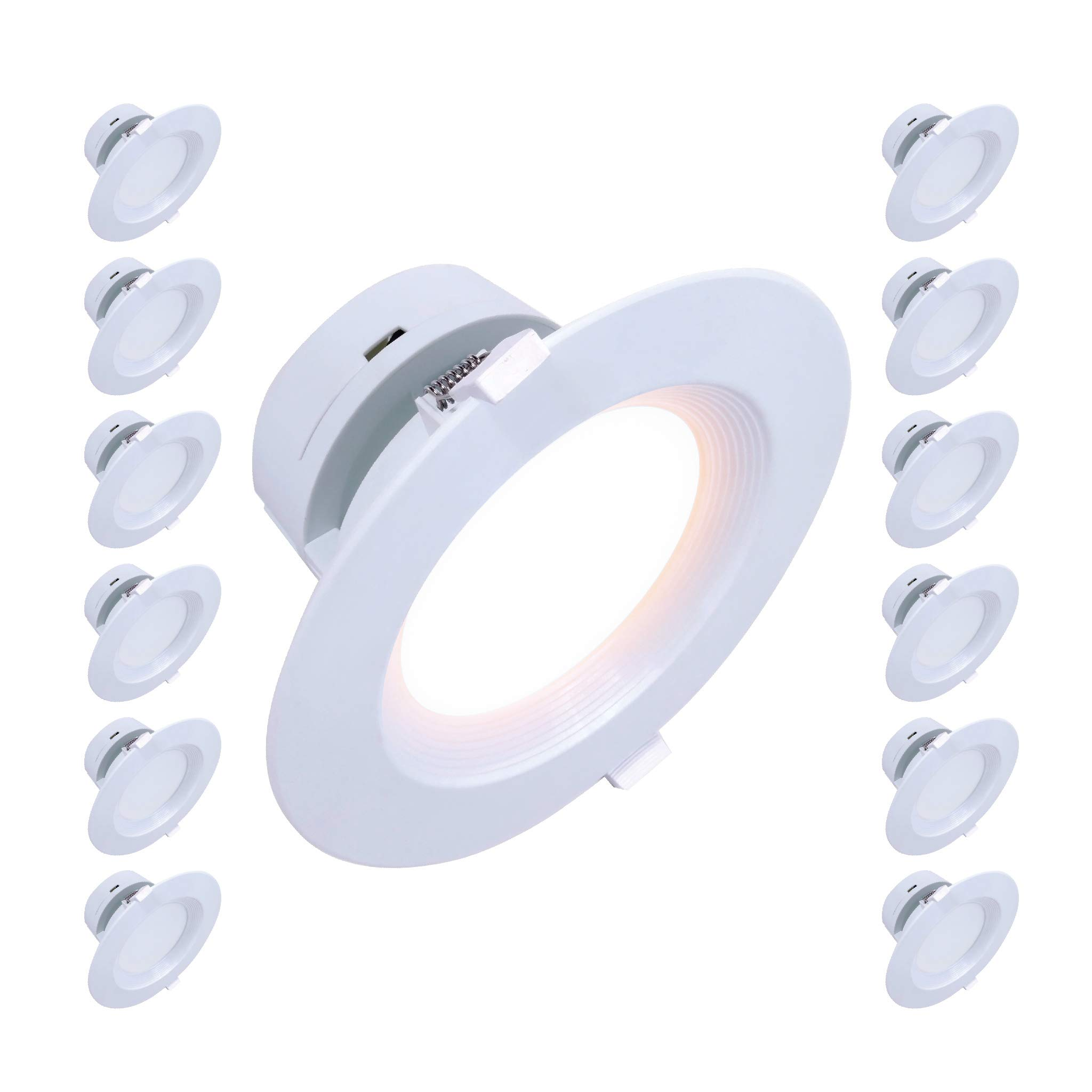 4'' Inch J-Box LED Canless Downlight; 7W=65/75W Equivalent; 40,000 Life Hours; Dimmable to 5%; Wet Location Rated; 5 Year Warranty; 120V; 550 Lumens; CRI>90; Soft White 2700K- (12 Pack)