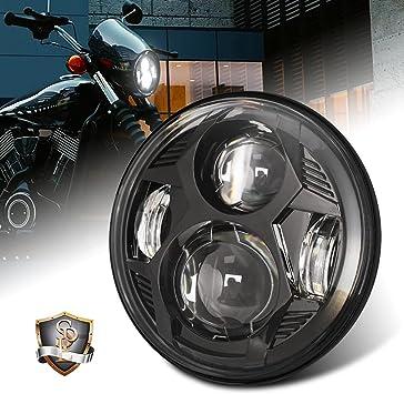 5.75 Inch Led Headlight Motorcycle with 5.75 Inch Headlight Bucket High Low Beam Headlamp for Motorbike Honda Dyna Street Glide Softail Sportster Iron 883 Black