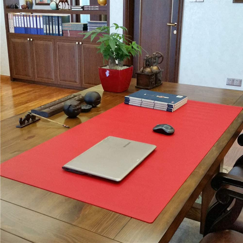PU Leather Laptop keyboard mouse desk mat Waterproof Gaming writing pad Mat For office and home Dual-sided-black 120x60cm Desk mouse pad 47x24inch