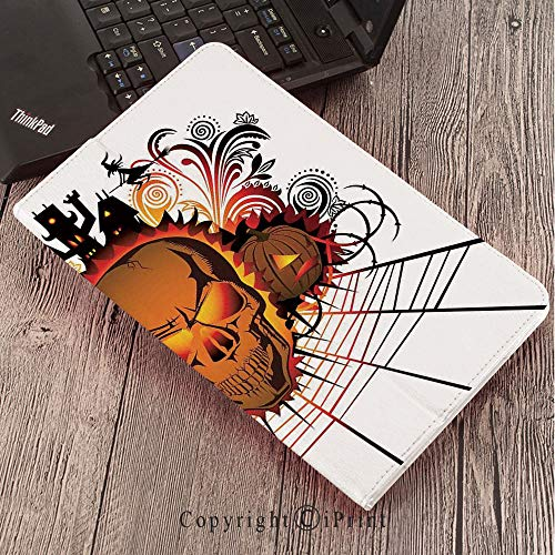 Case for Samsung Galaxy Tab S3 9.7 T820 T825 Slim Folding Stand Cover PU Case, Halloween Decorations,Angry Skull Face on Bonfire Spirits of Other World Concept Bats Spider Web,Multi]()