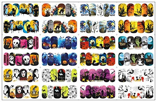 12 Pack Halloween Witch Black Cat Ghos Nails Art Stickers Water Decal Professional Girls Stamper Plates Goodly Popular Manicure Brushes Tool Nail Wraps -