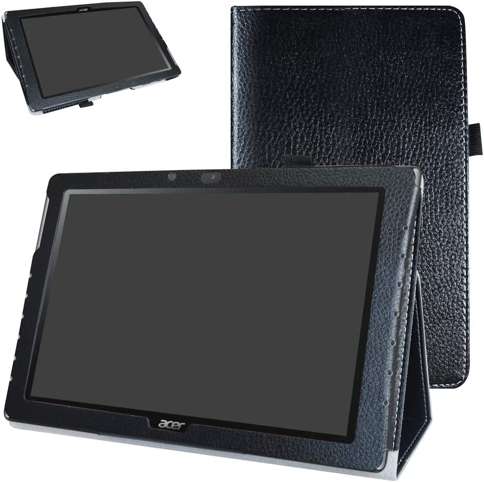 "Acer Iconia One 10 B3-A40 Case,Mama Mouth PU Leather Folio 2-Folding Stand Cover with Stylus Holder for 10.1"" Acer Iconia One 10 B3-A40 Android Tablet,Black"