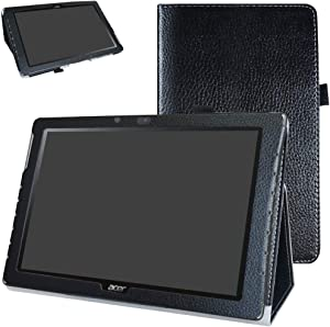 """Acer Iconia One 10 B3-A40 Case,Mama Mouth PU Leather Folio 2-Folding Stand Cover with Stylus Holder for 10.1"""" Acer Iconia One 10 B3-A40 Android Tablet,Black"""