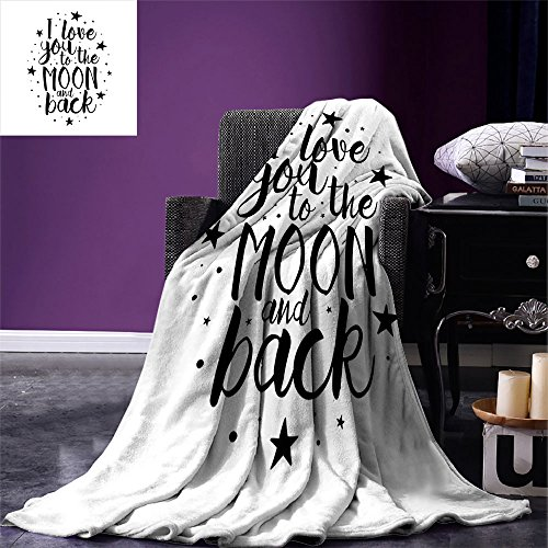 Price comparison product image smallbeefly I Love You Digital Printing Blanket Romantic I Love You to the Moon and Back Motivational Valentines Lifestyle Summer Quilt Comforter Black White