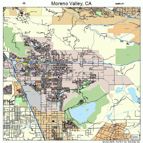 Amazoncom Large Street Road Map of Moreno Valley California CA