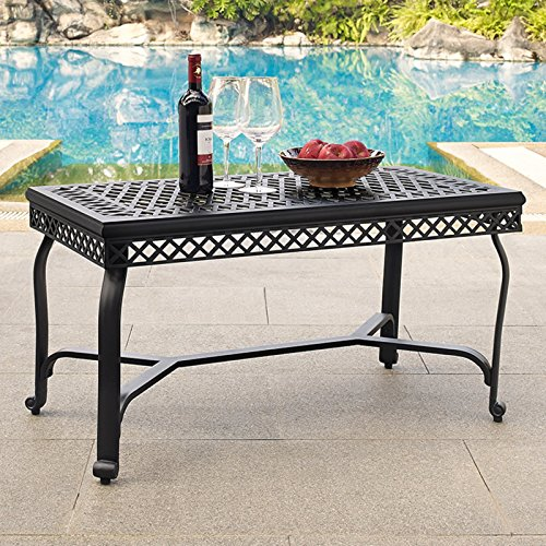 - Coffee Table, Charcoal Black Finish, Constructed From Heavy-Duty Cast Aluminum, Finished with a Weather-Resistant Powder Coating, Large, Open-Weave Tabletop Makes it Comfortable to Set Snacks/Drinks