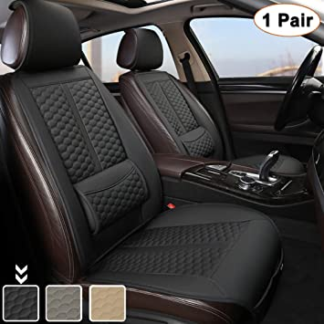 Black Panther Car Seats Covers, 1 Pair Universal Sideless Driver Seat Protectors, with Lumbar Support and Headrest Cover ( Black)