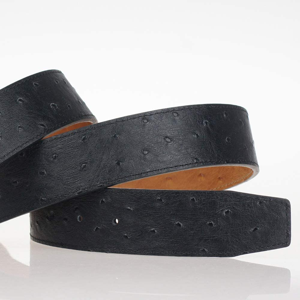 Replacement Belt Genuine Leather Ostrich Pattern Strap Reversible Without Buckle for Hermes