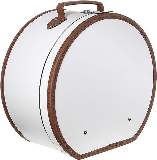 Lierys Sombrerera redonda y crema blanca - Aprox. 40 cm x 21 cm - Caja para sombrero grande de piel sintética - Con asa y cierre - Caja para sombrero - También