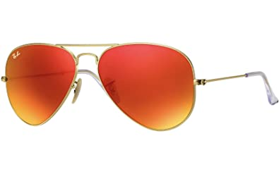 8a50784db94 Image Unavailable. Image not available for. Color  Ray Ban RB3025 112 69 58 Matte  Gold Orange Mirror Large Aviator ...