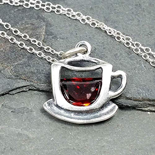 Coffee Cup with Red CZ Charm Necklace - 925 Sterling Silver, 18