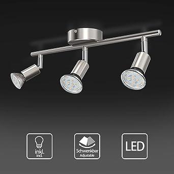 Modern 4 Light Triple Way LED Round Ceiling Spotlight Light//Lighting Fitting Complete with 3.5 Watt Warm White LED Lamps